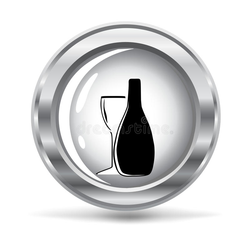 Metallic button with a bottle of wine. vector vector illustration