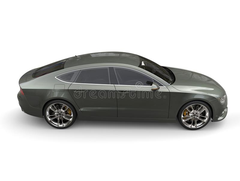 Metallic cadet green modern business car - high angle side view shot. Isolated on white background stock image