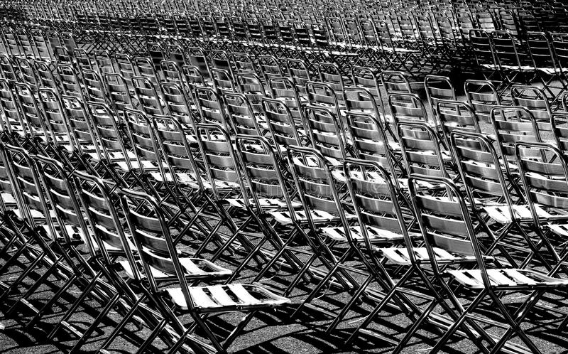 Metallic chairs. Waiting for the crowd before a concert royalty free stock photo