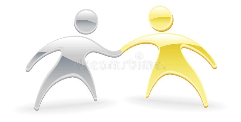 Metallic character handshake concept stock illustration