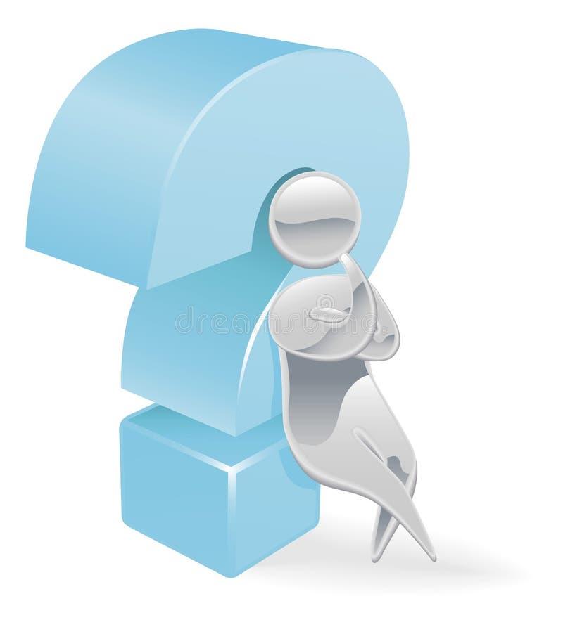 Metallic character question mark concept vector illustration