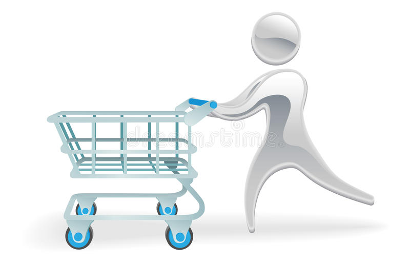 Download Metallic Character Shopping Cart Trolly Concept Stock Vector - Illustration: 21184441