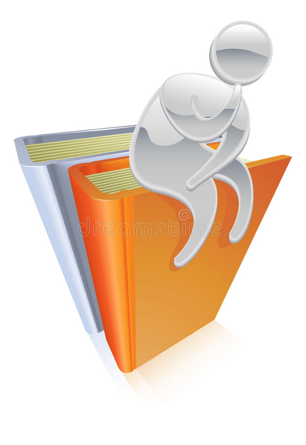 Download Metallic Character Sitting On Books Thinking Stock Vector - Image: 21331900