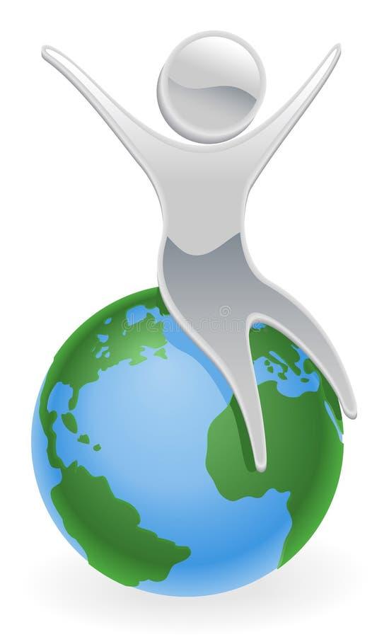 Metallic character on top of the world vector illustration