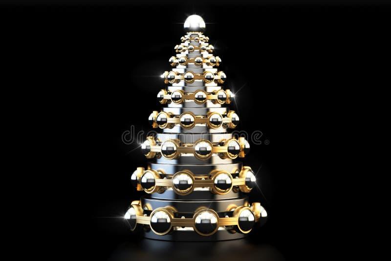 Metallic Christmas Tree from bearings, 3D rendering. Abstract metallic Christmas Tree from bearings, 3D rendering on black background vector illustration