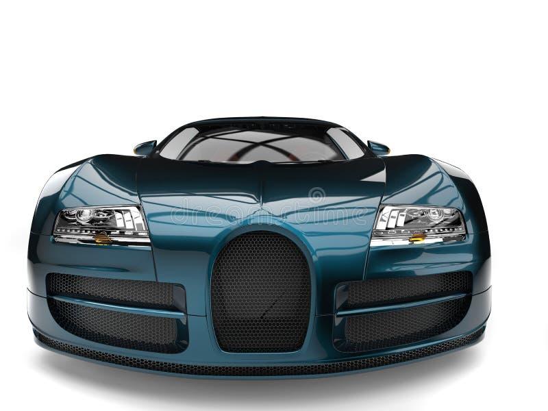 Metallic cyan modern super sports car - front view royalty free illustration
