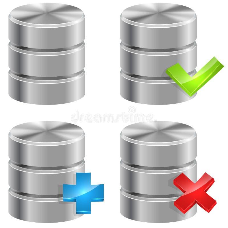 Metallic database icons vector illustration