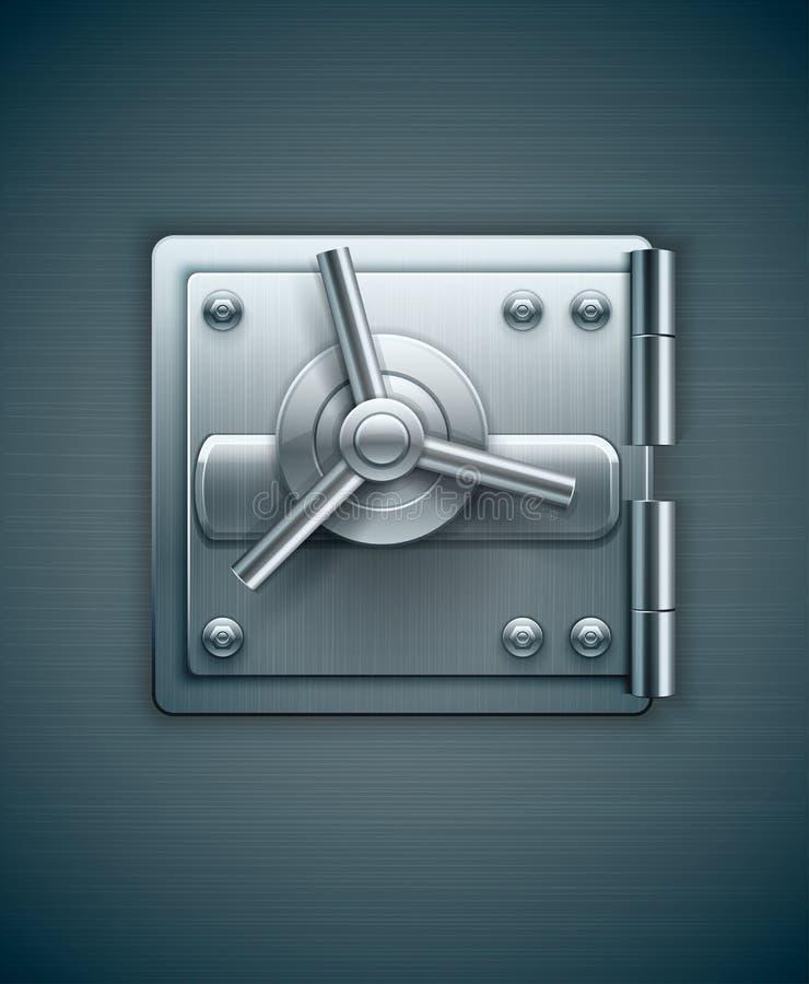 Metallic door of bank safe for money stock illustration