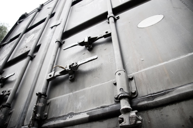 Metallic doors of transport container stock photos