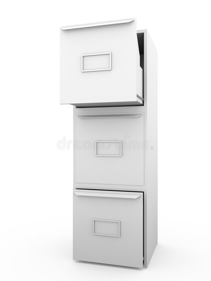 Metallic drawer. Office furniture for archiving and cataloging information vector illustration
