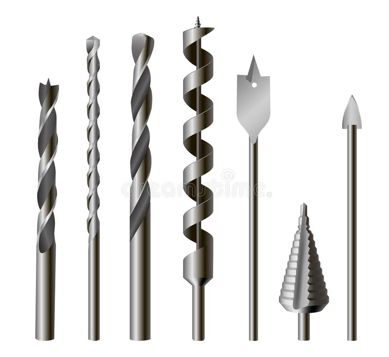 Free Metallic Drill Bits, Equipment And Tool Set Stock Images - 134595214