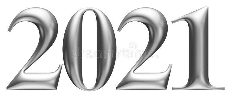 Metallic embossed numbers, alphabet, new year 2021, 3d illustration vector illustration