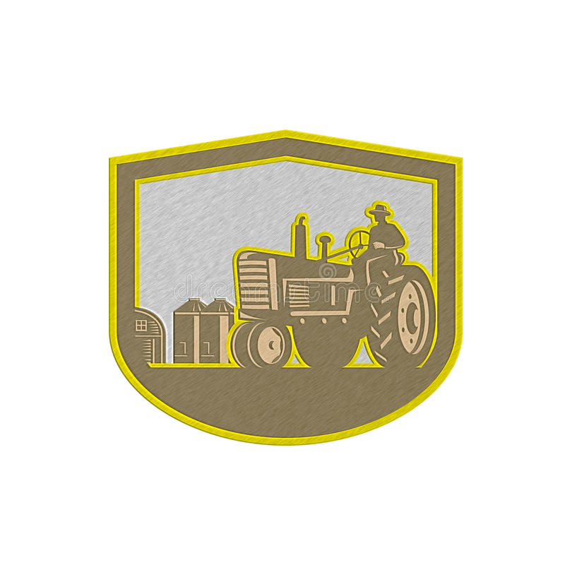 Metallic Farmer Driving Tractor Plowing Farm Shield Retro royalty free illustration