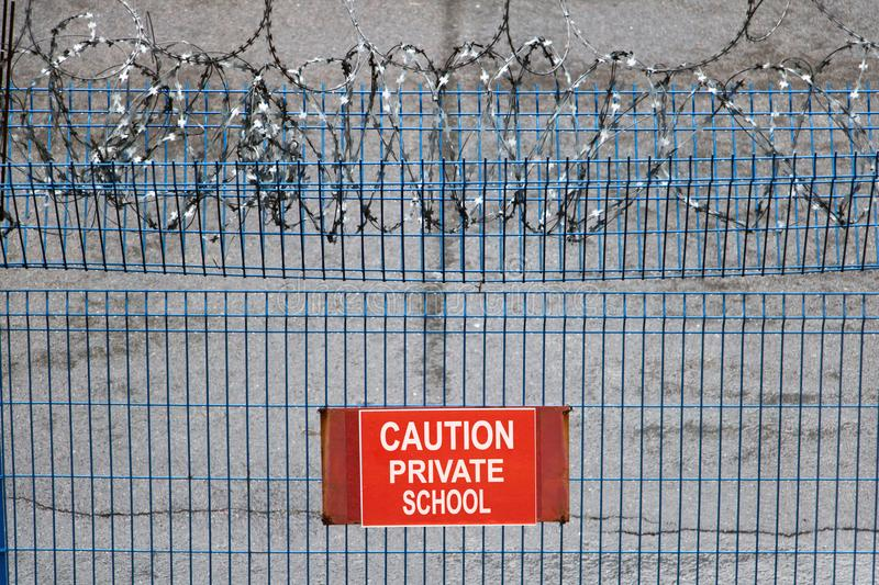 Metallic Fence With Red Warning Sign Private School. Stock Photo ...