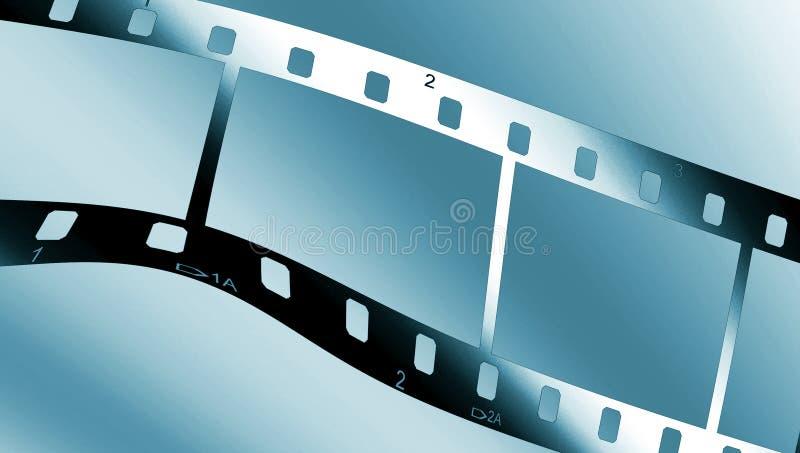 Metallic filmstrip. Chrome metal filmstrip on blue gradient stock illustration
