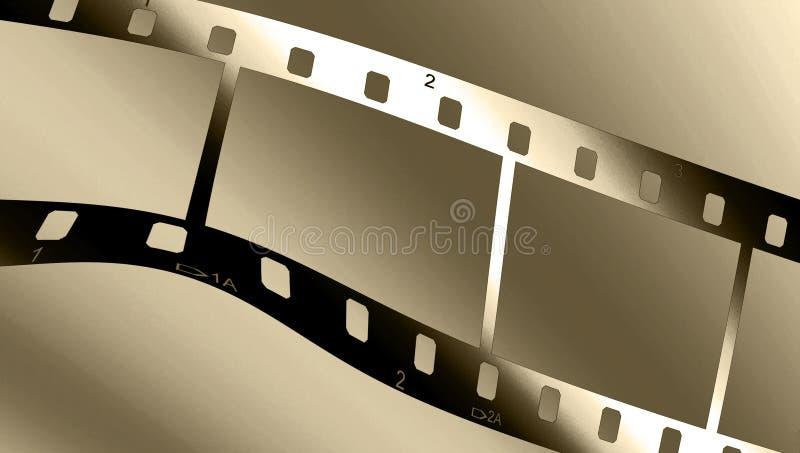 Metallic filmstrip. Chrome metal filmstrip wave on a brown gradient royalty free illustration