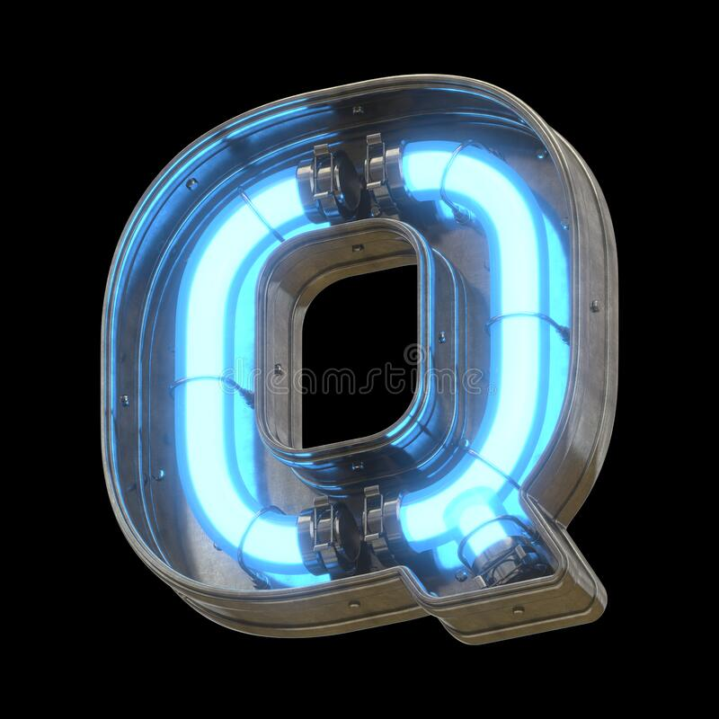 Metallic futuristic font with blue neon lights. stock photos