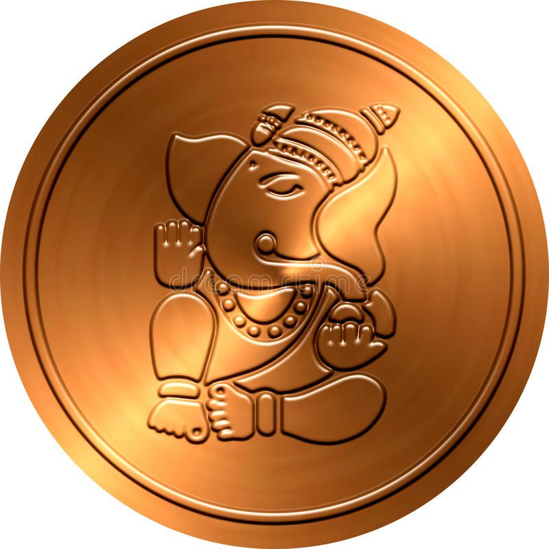 Metallic Ganesha Coin royalty free stock photo