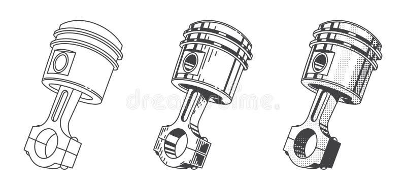 Metallic Gear Piston Car Engine Part Set Stock Vector