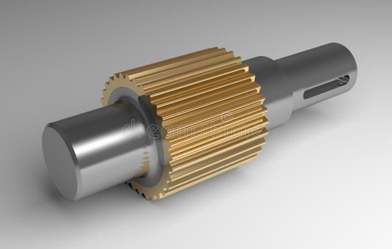 Metallic gear shaft. Lying on gray background stock illustration