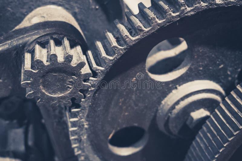 Metallic gears, closeup, of vintage machine - mechanical technology concept,. Metallic gears, closeup, of vintage machine - mechanical technology concept stock photos