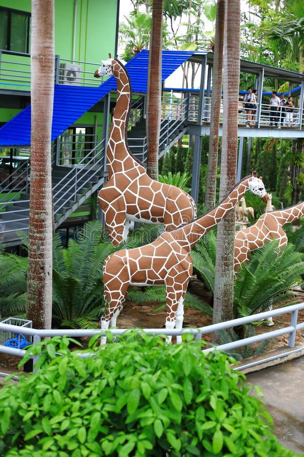Download Metallic Giraffe Statue In Garden Stock Image   Image: 57491297