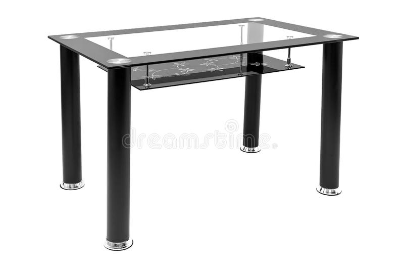 Metallic and glass dining table for living room or kitchen. Modern design table for eating, isolated on white background stock images