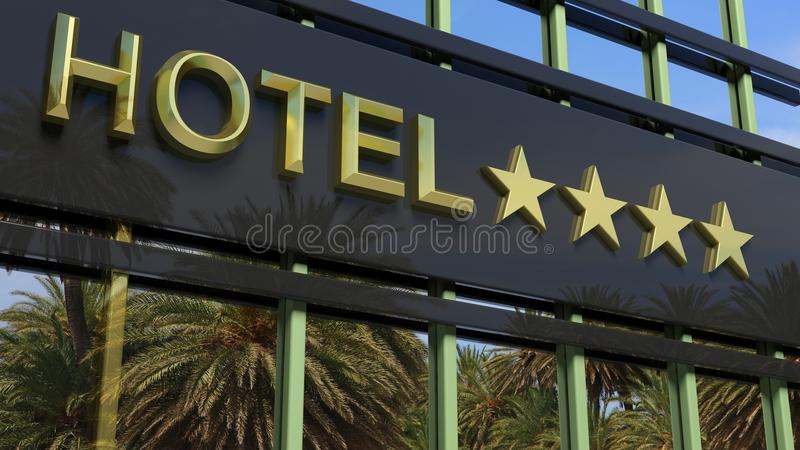 Metallic glass hotel sign board with four golden stars stock illustration