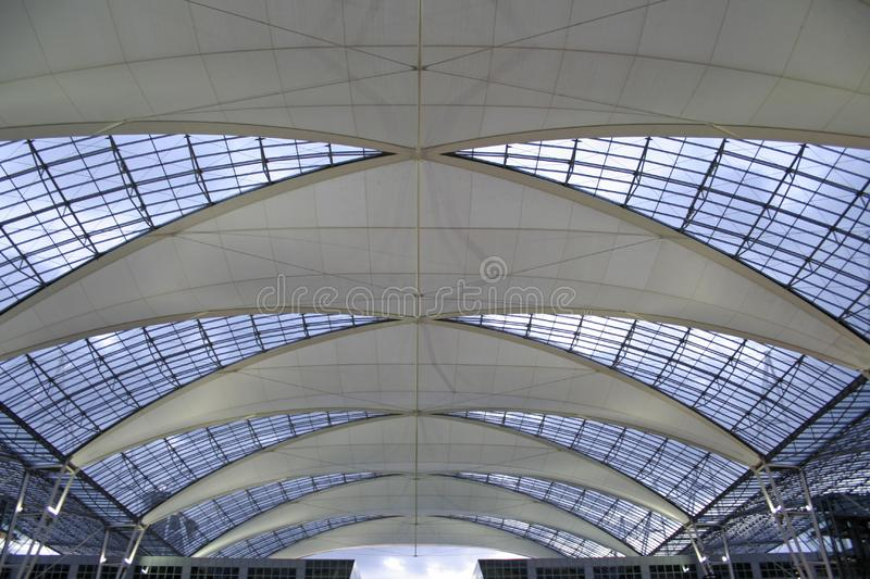 Metallic and glass roof stock image