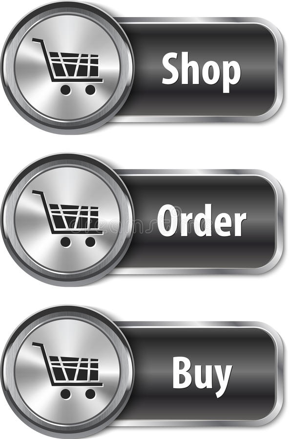 Metallic and glossy web elements/buttons for online shopping royalty free illustration
