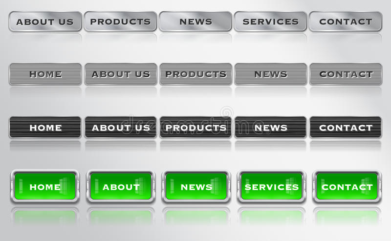 Metallic And Glossy Website Design Bar, Menu Elements Stock Photography
