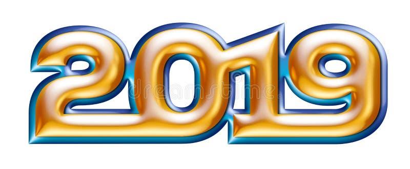 Metallic gold alphabet, new year 2019, blue metal effect outline, 3d illustration stock illustration