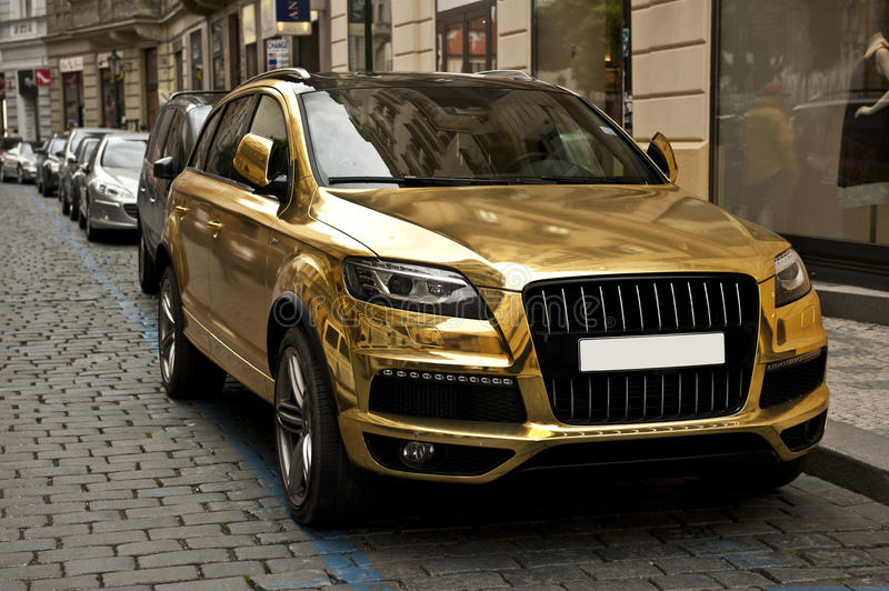 Metallic Gold Car Stock Photo. Image Of Parked, Metal