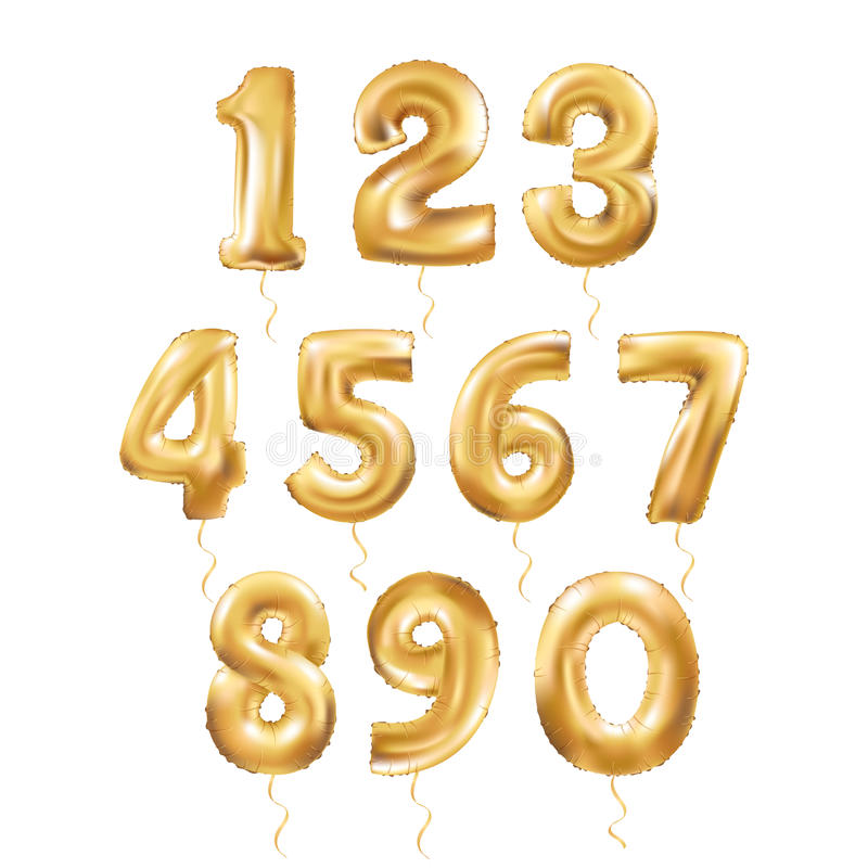 Metallic Gold Letter Balloons 123 vector illustration