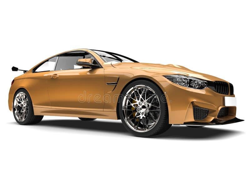 Metallic gold modern luxury sports car - beauty shot vector illustration