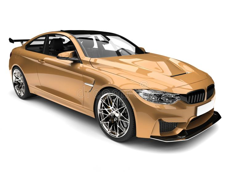 Metallic gold modern luxury sports car vector illustration