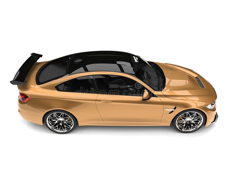 Metallic gold modern luxury sports car - top down side view royalty free illustration