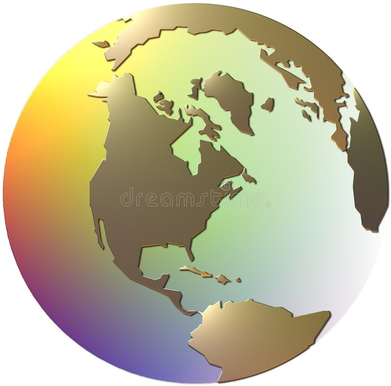 Metallic Gold and Semi Transpa. Globe illustration with golden shaped continents