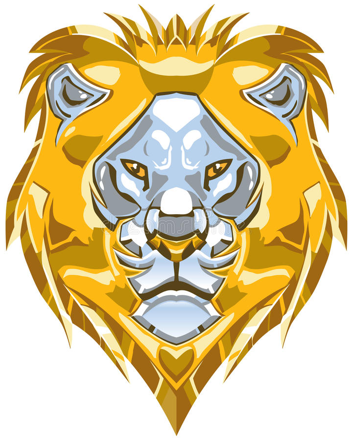 Metallic Gold and Silver Lion Head Vector Illustration vector illustration