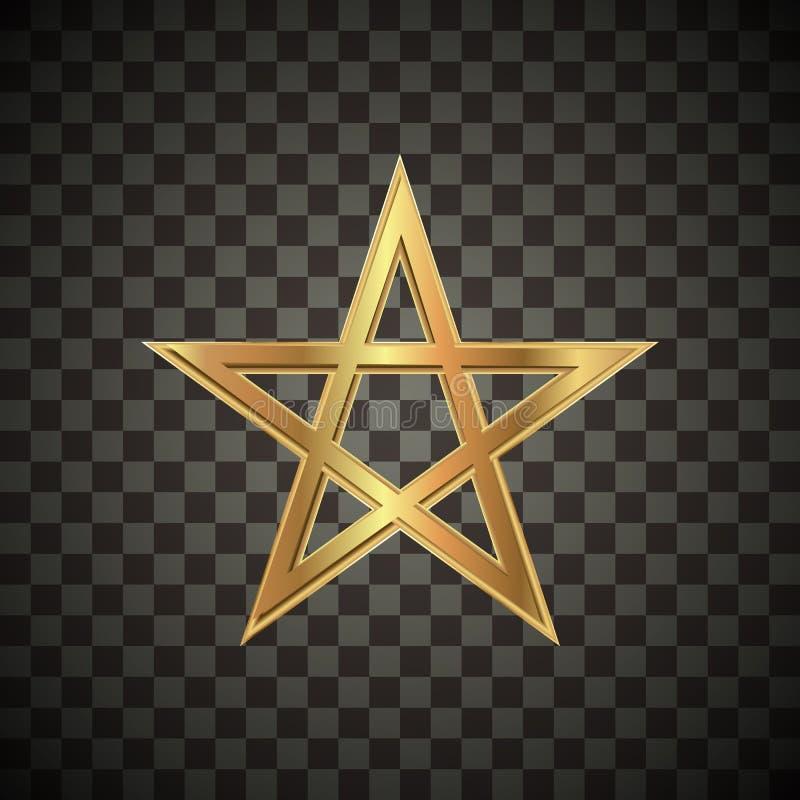 Metallic gold star on transparent textured illustration vector illustration