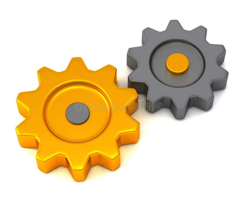 Metallic and golden gears, 3d stock illustration