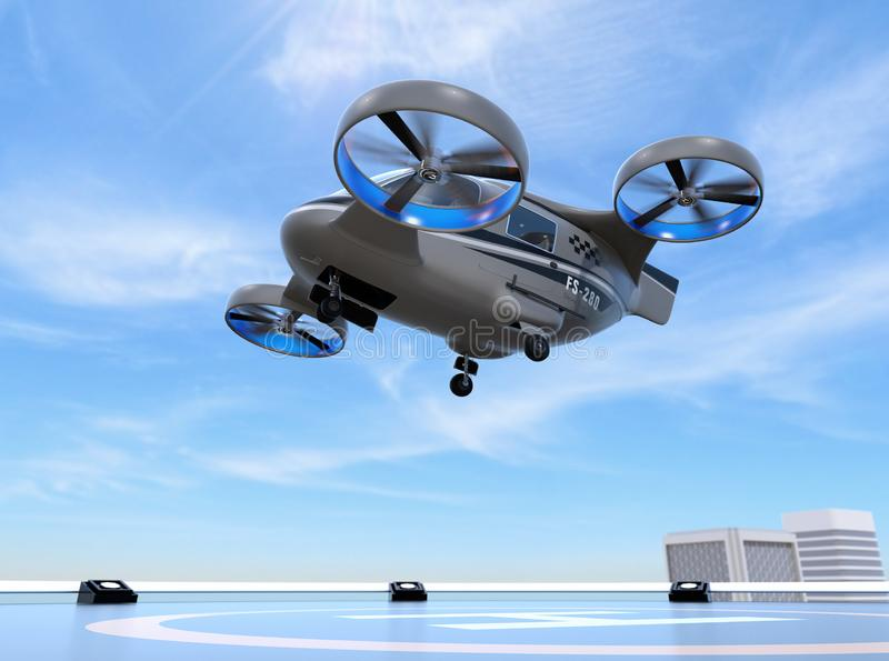 Metallic gray Passenger Drone Taxi takeoff from helipad. 3D rendering image vector illustration