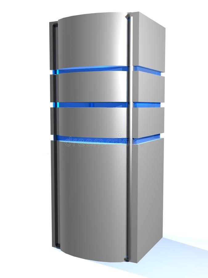 Metallic grey server tower royalty free illustration