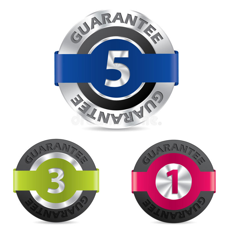 Metallic Guarantee Badges With Different Numbers Stock Photos