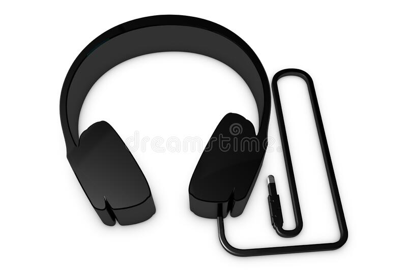 Metallic Headphone Symbol With Wire And Plug - Black 3D Illustration - Isolated On White Background stock photo