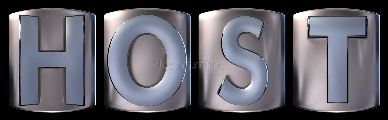 Metallic host word. Metallic blue silver host word realistic 3d rendered on black background royalty free illustration