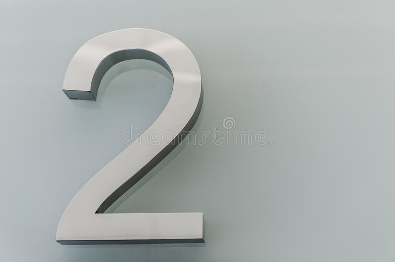 Metallic house number 2 royalty free stock photos