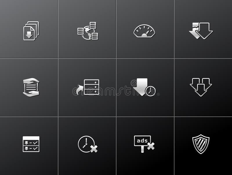 Metallic Icons - File Sharing stock illustration