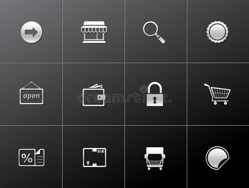 Metallic Icons - More Ecommerce vector illustration