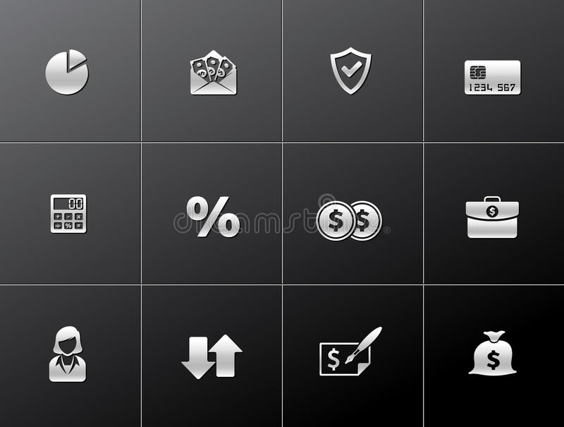 Metallic Icons - More Finance royalty free illustration